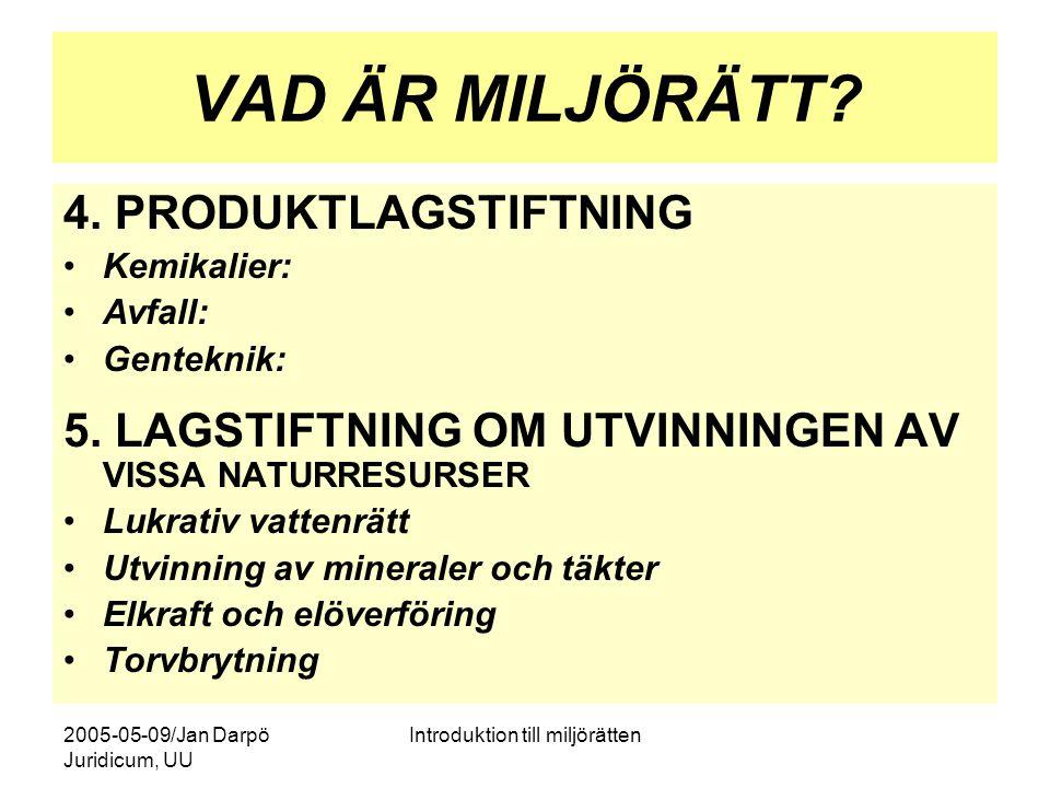 2005-05-09/Jan Darpö Juridicum, UU Introduktion till miljörätten MB – EN SAMLAD LAGSTIFT-NING MED INTEGRERAD PRÖVNING Gemensamma prövningsregler (tillstånd, tillsyn, överklagande) Förvaltningsrättslig grund, även civilrätt (skadestånd, enskilda anspråk m.m.) Avgifter och straffregler