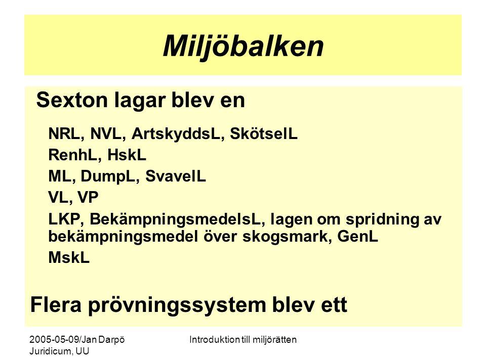 2005-05-09/Jan Darpö Juridicum, UU Introduktion till miljörätten Miljöbalken Sexton lagar blev en NRL, NVL, ArtskyddsL, SkötselL RenhL, HskL ML, DumpL
