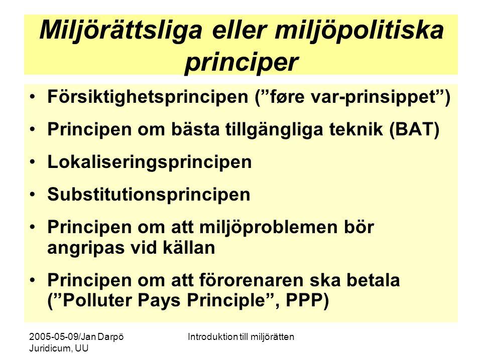 2005-05-09/Jan Darpö Juridicum, UU Introduktion till miljörätten MBs fem grundstenar 1.Hälsa och miljö ska skyddas 2.Natur- och kulturområden ska skyddas och vårdas 3.Den biologiska mångfalden ska bevaras 4.En god hushållning av mark och vatten ska tryggas 5.Återanvändning och återvinning ska främjas