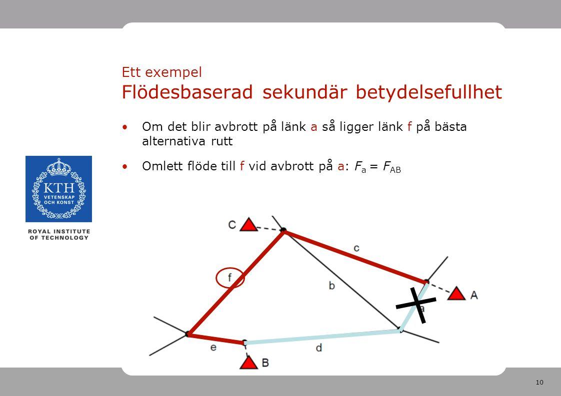 10 Om det blir avbrott på länk a så ligger länk f på bästa alternativa rutt Omlett flöde till f vid avbrott på a: F a = F AB Ett exempel Flödesbaserad sekundär betydelsefullhet