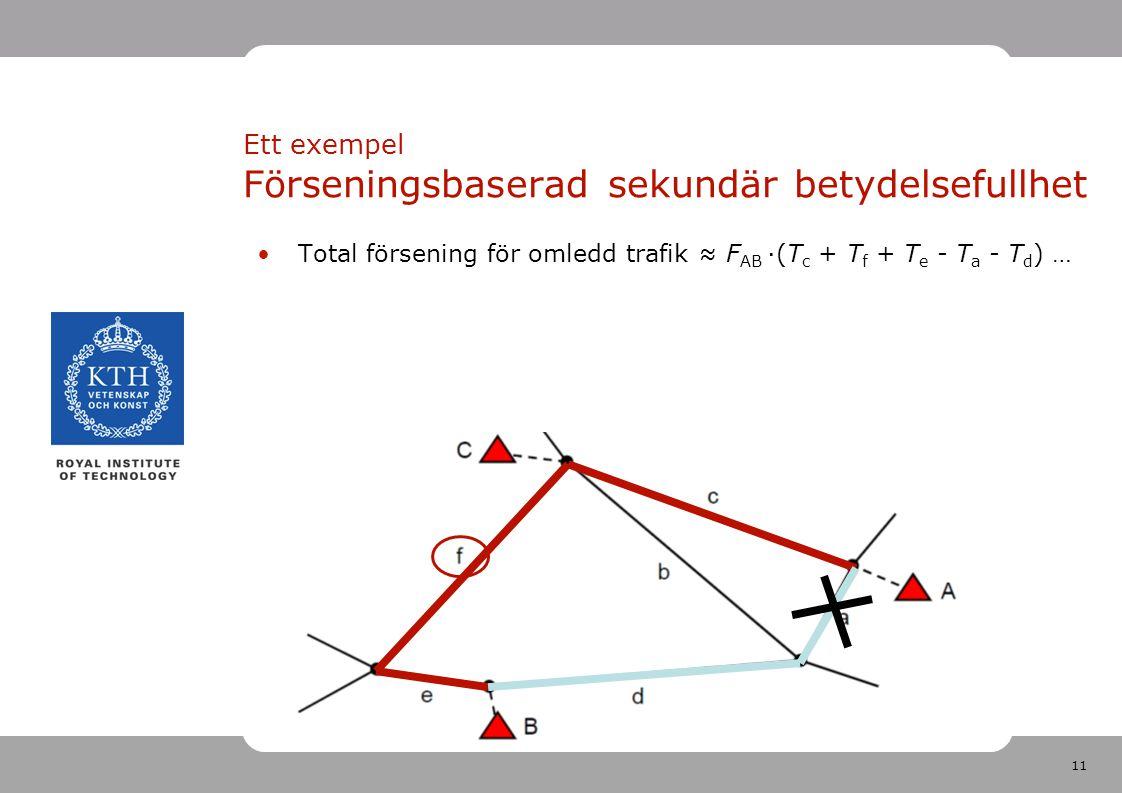 11 Total försening för omledd trafik ≈ F AB ·(T c + T f + T e - T a - T d ) … Ett exempel Förseningsbaserad sekundär betydelsefullhet