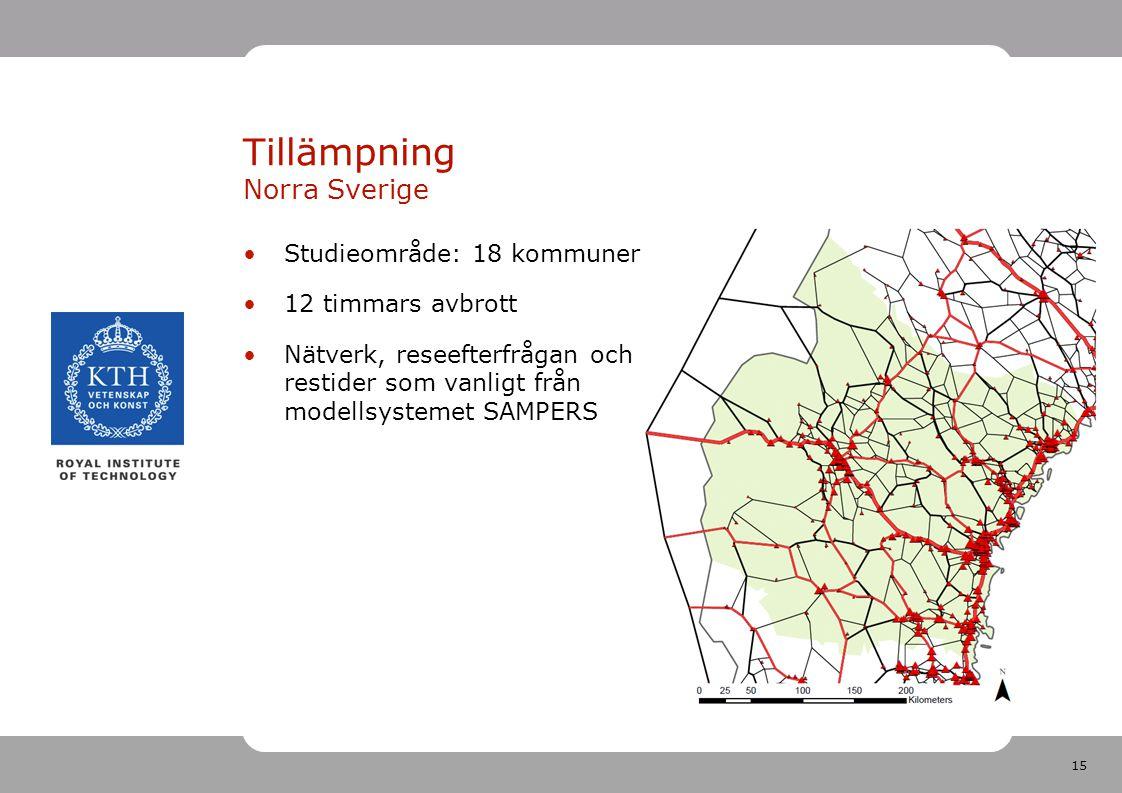 15 Tillämpning Norra Sverige Studieområde: 18 kommuner 12 timmars avbrott Nätverk, reseefterfrågan och restider som vanligt från modellsystemet SAMPERS