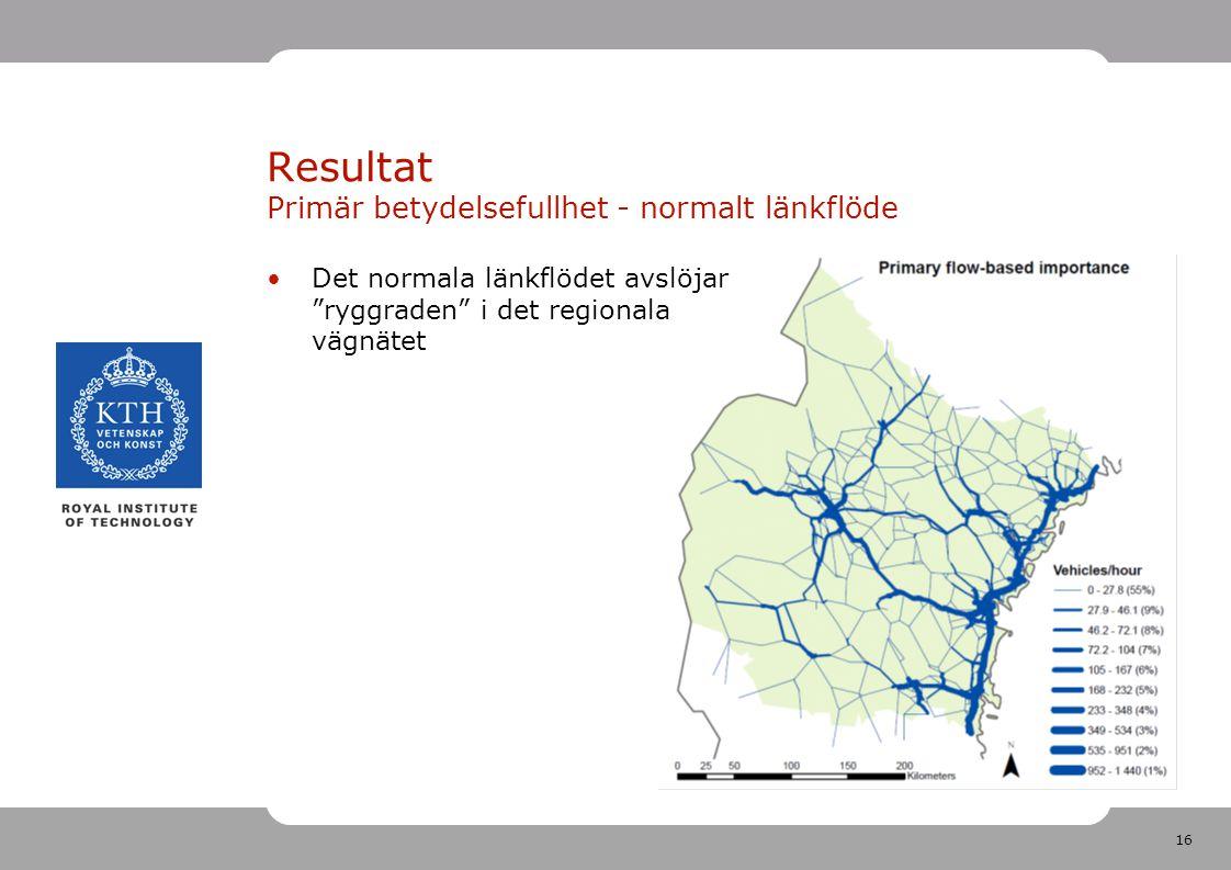 16 Resultat Primär betydelsefullhet - normalt länkflöde Det normala länkflödet avslöjar ryggraden i det regionala vägnätet
