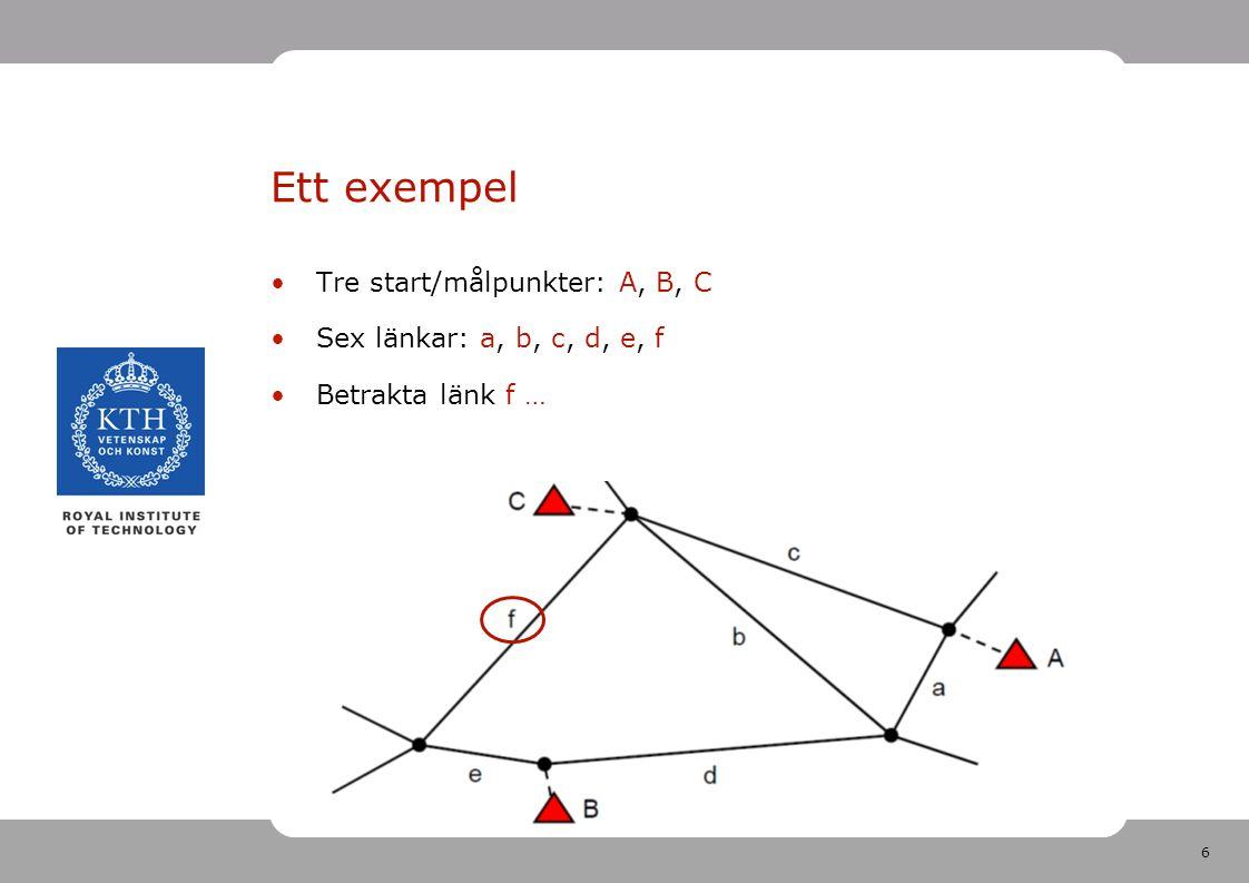 6 Tre start/målpunkter: A, B, C Sex länkar: a, b, c, d, e, f Betrakta länk f … Ett exempel