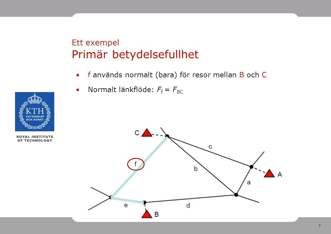 7 f används normalt (bara) för resor mellan B och C Normalt länkflöde: F f = F BC Ett exempel Primär betydelsefullhet