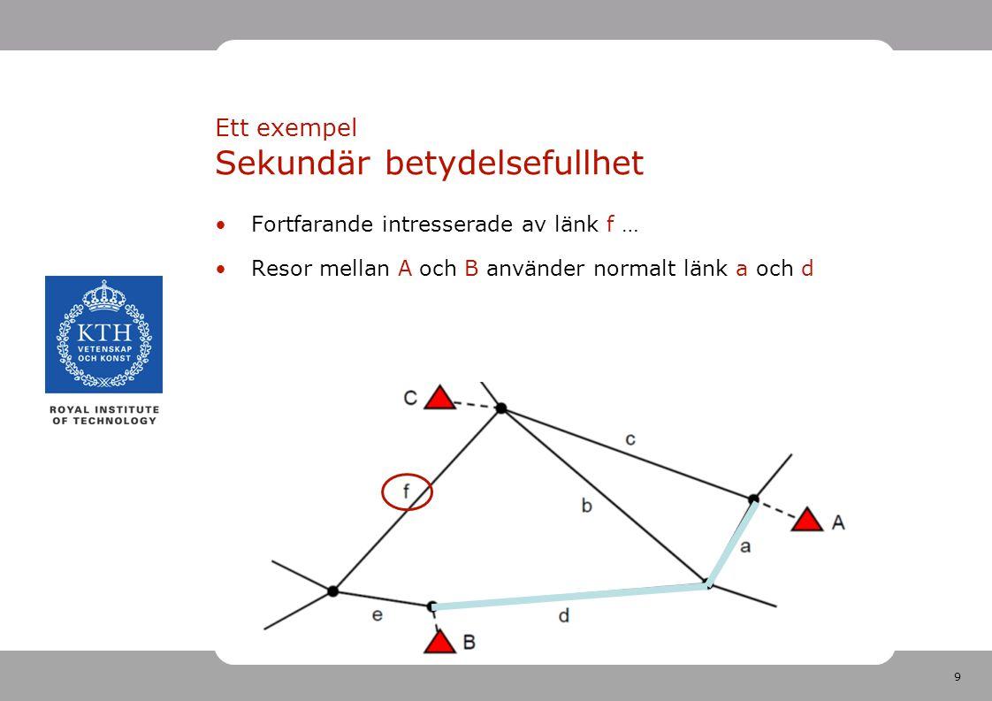 9 Fortfarande intresserade av länk f … Resor mellan A och B använder normalt länk a och d Ett exempel Sekundär betydelsefullhet