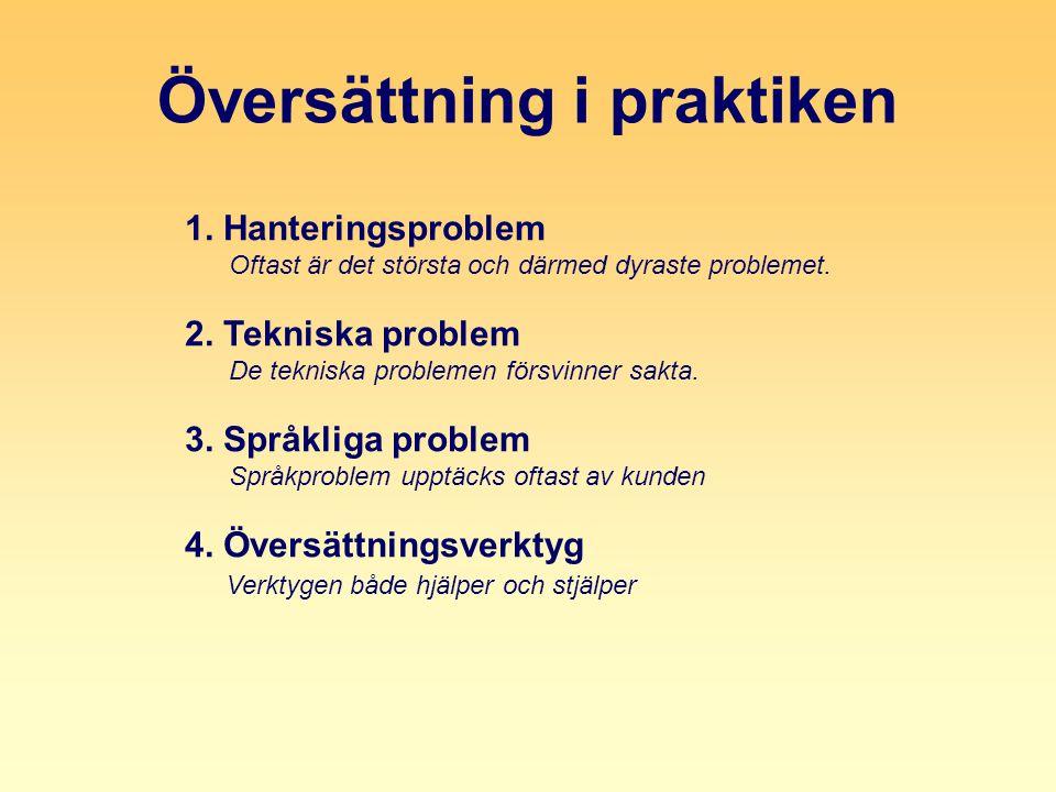 Översättning i praktiken 1. Hanteringsproblem Oftast är det största och därmed dyraste problemet.