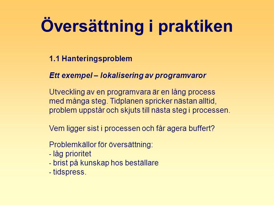 Översättning i praktiken 1.1 Hanteringsproblem Ett exempel – lokalisering av programvaror Utveckling av en programvara är en lång process med många steg.