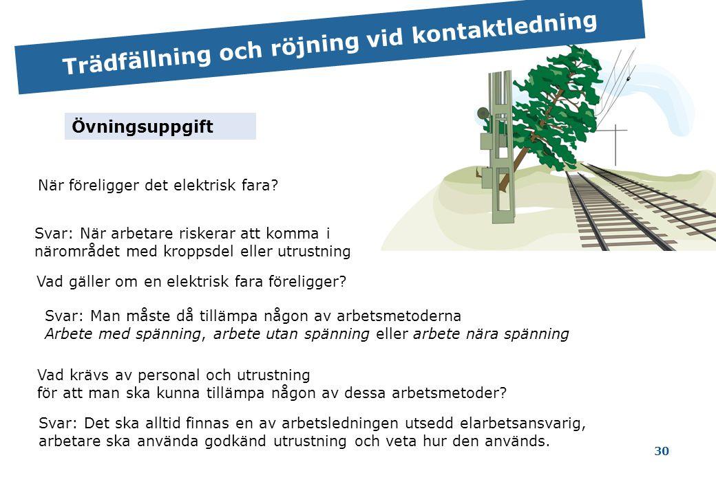 30 Trädfällning och röjning vid kontaktledning När föreligger det elektrisk fara.