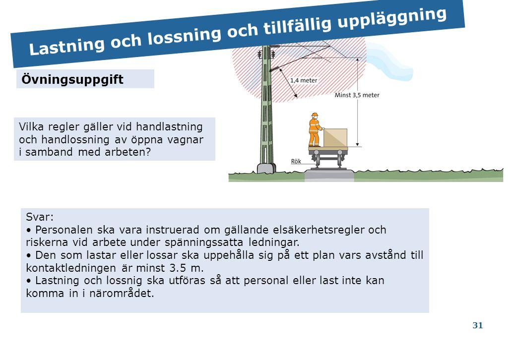 31 Lastning och lossning och tillfällig uppläggning Vilka regler gäller vid handlastning och handlossning av öppna vagnar i samband med arbeten.