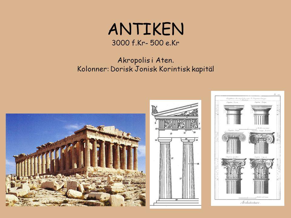 ANTIKEN 3000 f.Kr- 500 e.Kr Akropolis i Aten. Kolonner: Dorisk Jonisk Korintisk kapitäl