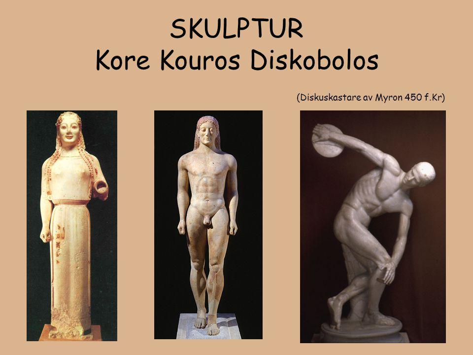 SKULPTUR Kore Kouros Diskobolos (Diskuskastare av Myron 450 f.Kr)