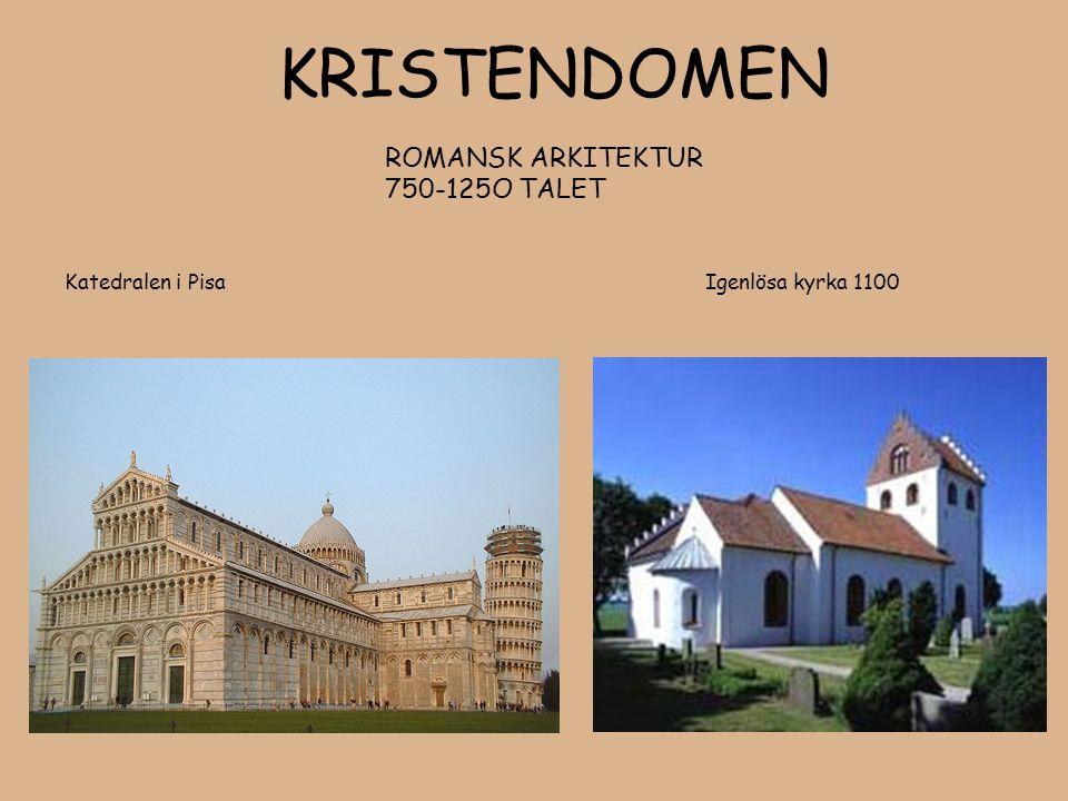 KRISTENDOMEN ROMANSK ARKITEKTUR 750-125O TALET Katedralen i Pisa Igenlösa kyrka 1100