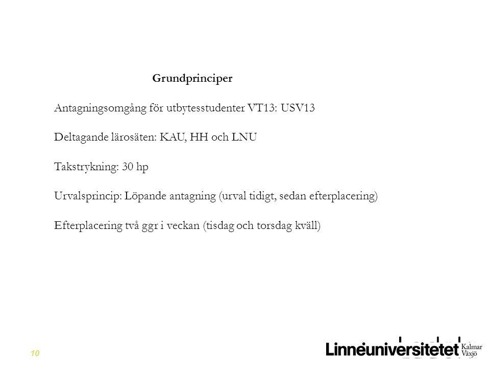 10 Grundprinciper Antagningsomgång för utbytesstudenter VT13: USV13 Deltagande lärosäten: KAU, HH och LNU Takstrykning: 30 hp Urvalsprincip: Löpande a