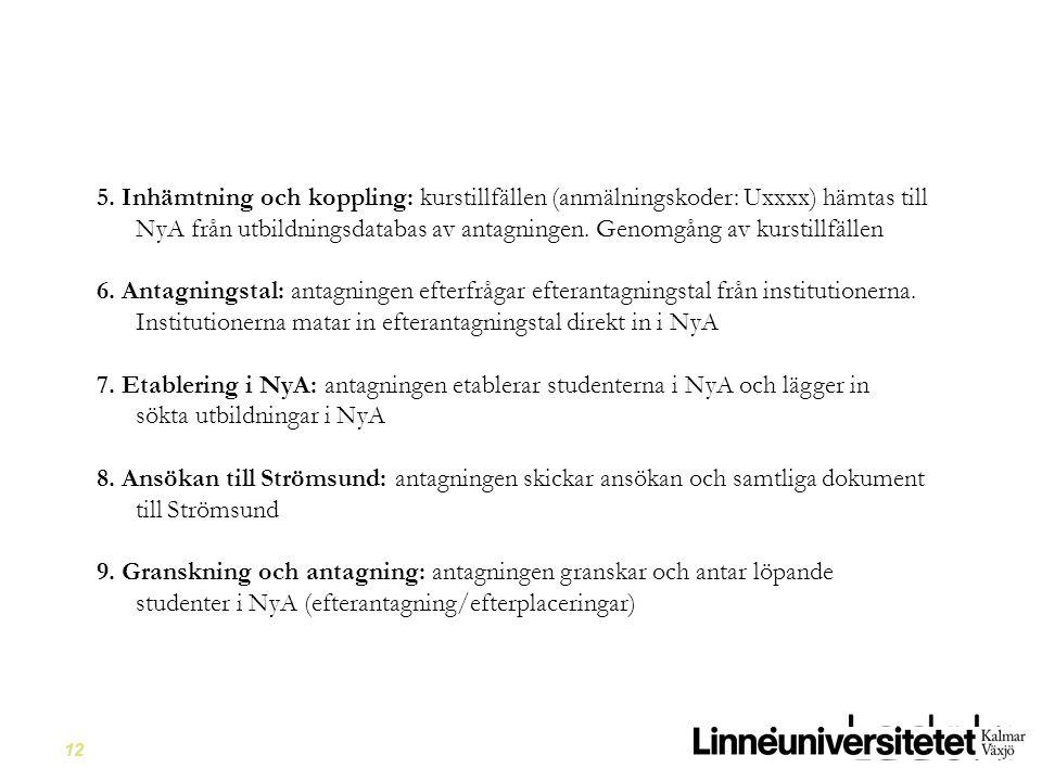 12 5. Inhämtning och koppling: kurstillfällen (anmälningskoder: Uxxxx) hämtas till NyA från utbildningsdatabas av antagningen. Genomgång av kurstillfä