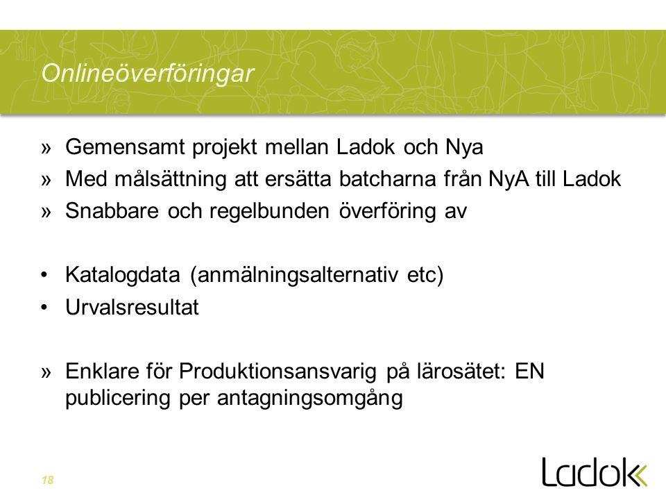18 Onlineöverföringar »Gemensamt projekt mellan Ladok och Nya »Med målsättning att ersätta batcharna från NyA till Ladok »Snabbare och regelbunden öve