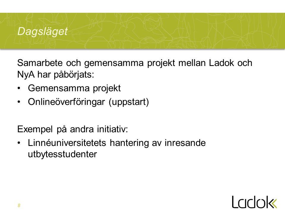 8 Dagsläget Samarbete och gemensamma projekt mellan Ladok och NyA har påbörjats: Gemensamma projekt Onlineöverföringar (uppstart) Exempel på andra ini