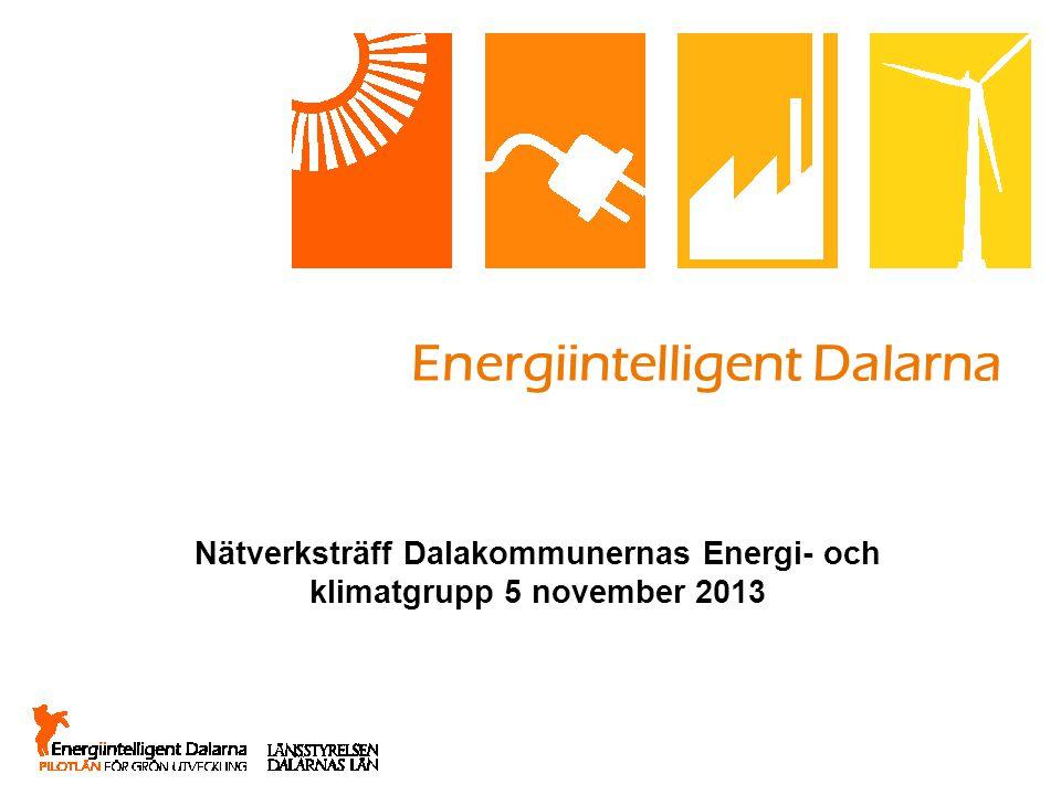 Energiintelligent Dalarna Nätverksträff Dalakommunernas Energi- och klimatgrupp 5 november 2013