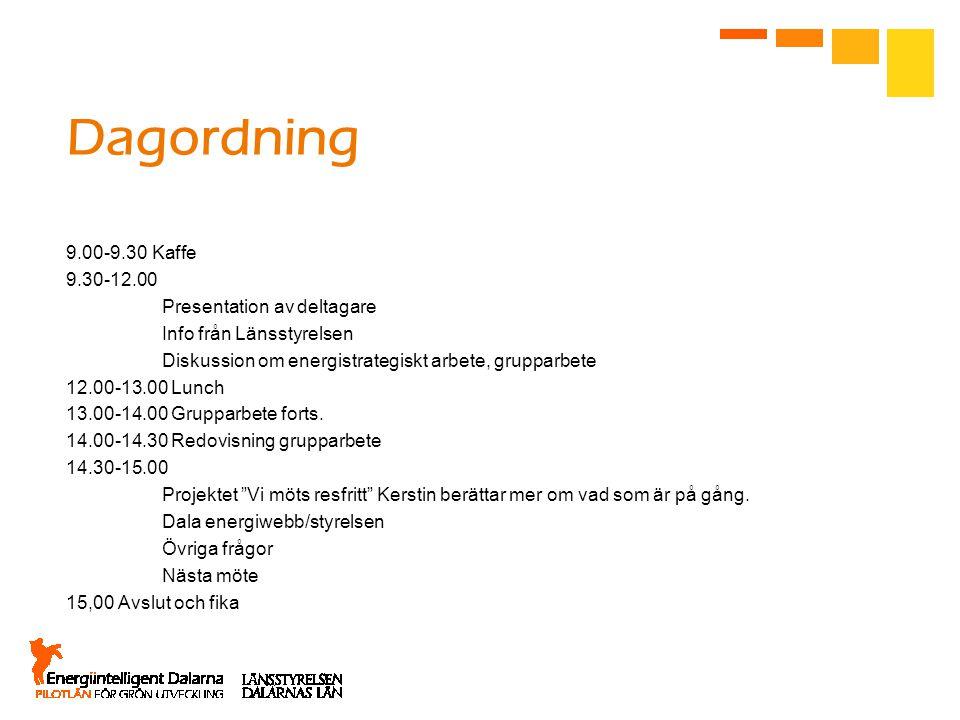 Dagordning 9.00-9.30 Kaffe 9.30-12.00 Presentation av deltagare Info från Länsstyrelsen Diskussion om energistrategiskt arbete, grupparbete 12.00-13.00 Lunch 13.00-14.00 Grupparbete forts.