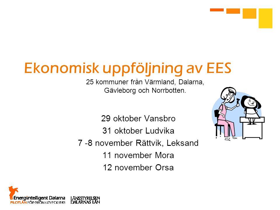 Ekonomisk uppföljning av EES 29 oktober Vansbro 31 oktober Ludvika 7 -8 november Rättvik, Leksand 11 november Mora 12 november Orsa 25 kommuner från Värmland, Dalarna, Gävleborg och Norrbotten.