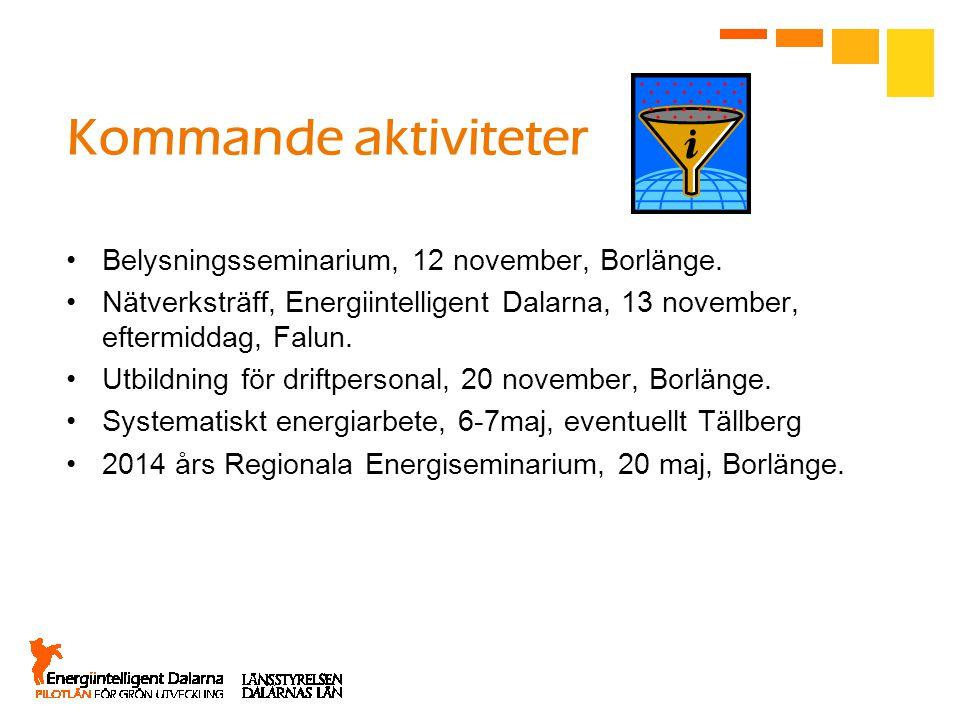 Kommande aktiviteter Belysningsseminarium, 12 november, Borlänge.