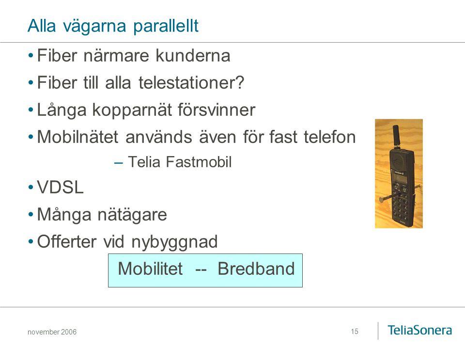 november 2006 15 Alla vägarna parallellt Fiber närmare kunderna Fiber till alla telestationer? Långa kopparnät försvinner Mobilnätet används även för