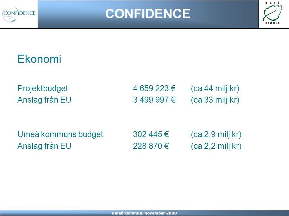 Umeå kommun, november 2008 CONFIDENCE Ekonomi Projektbudget4 659 223 € (ca 44 milj kr) Anslag från EU3 499 997 € (ca 33 milj kr) Umeå kommuns budget30