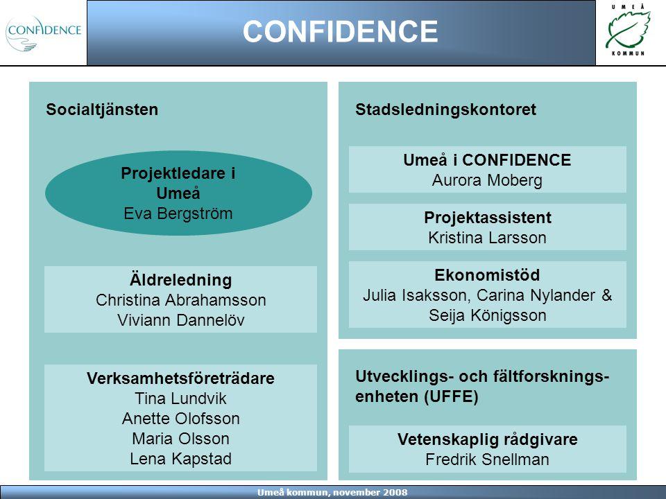Umeå kommun, november 2008 CONFIDENCE Projektet pågår från februari 2008 till och med januari 2011 Mer information: Eva Bergström Projektledare, Umeå kommun 090-162115 eva.bergstrom@umea.se Kristina Larsson Projektassistent, Umeå kommun 090-161342 kristina.larsson@umea.se www.umea.se/confidence