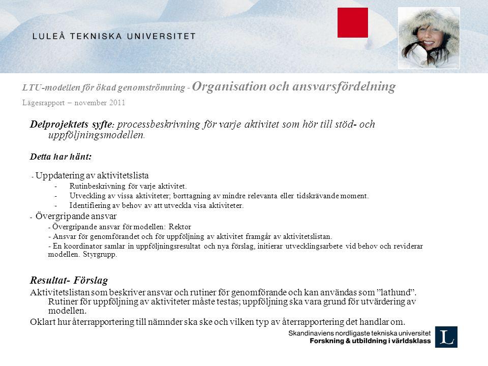 LTU-modellen för ökad genomströmning - Organisation och ansvarsfördelning Lägesrapport – november 2011 Delprojektets syfte : processbeskrivning för va
