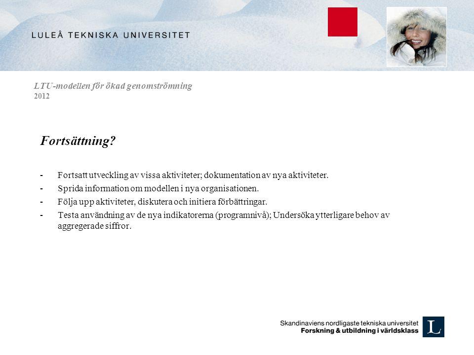 LTU-modellen för ökad genomströmning 2012 Fortsättning? -Fortsatt utveckling av vissa aktiviteter; dokumentation av nya aktiviteter. -Sprida informati