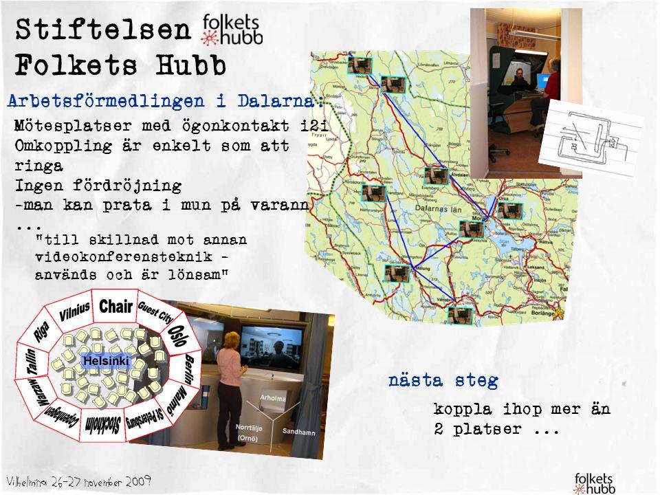 Vilhelmina 26-27 november 2009 Stiftelsen Folkets Hubb Arbetsförmedlingen i Dalarna: Mötesplatser med ögonkontakt i2i Omkoppling är enkelt som att rin