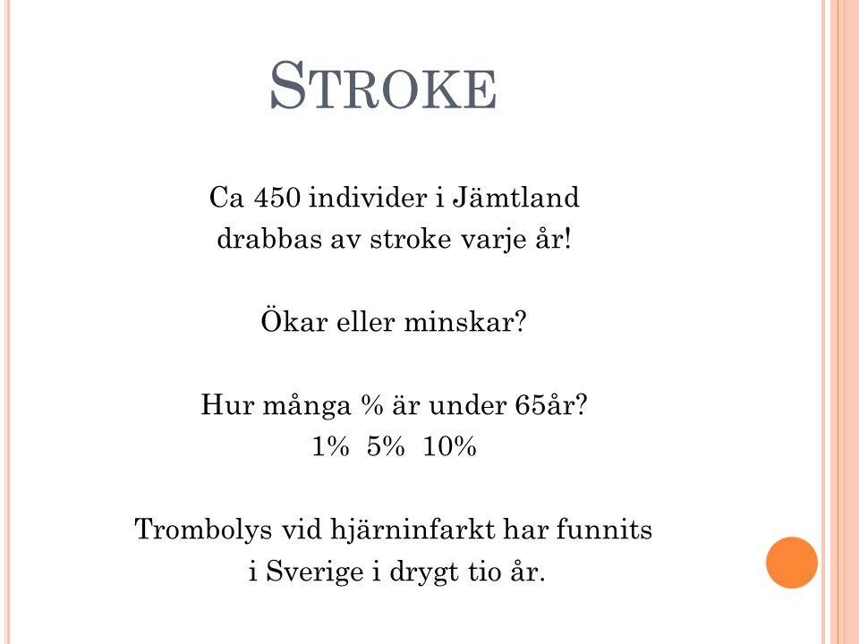 S TROKE Ca 450 individer i Jämtland drabbas av stroke varje år.