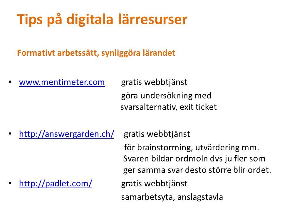 http://www.tagxedo.com/ gratis webbtjänst http://www.tagxedo.com/ skapa ordmoln http://www.wordle.net/gratis webbtjänst http://www.wordle.net/ skapa ordmoln Skapa tankekartor http://popplet.com/http://popplet.com/gratis webbtjänst 5 kartor, app kostar men är mycket bra Skapa presentationer www.glogster.com gratis webbtjänst, www.glogster.com en interaktiv plansch http://prezi.com/ gratis webbtjänst och app kostar ev finns gratisversion http://prezi.com/