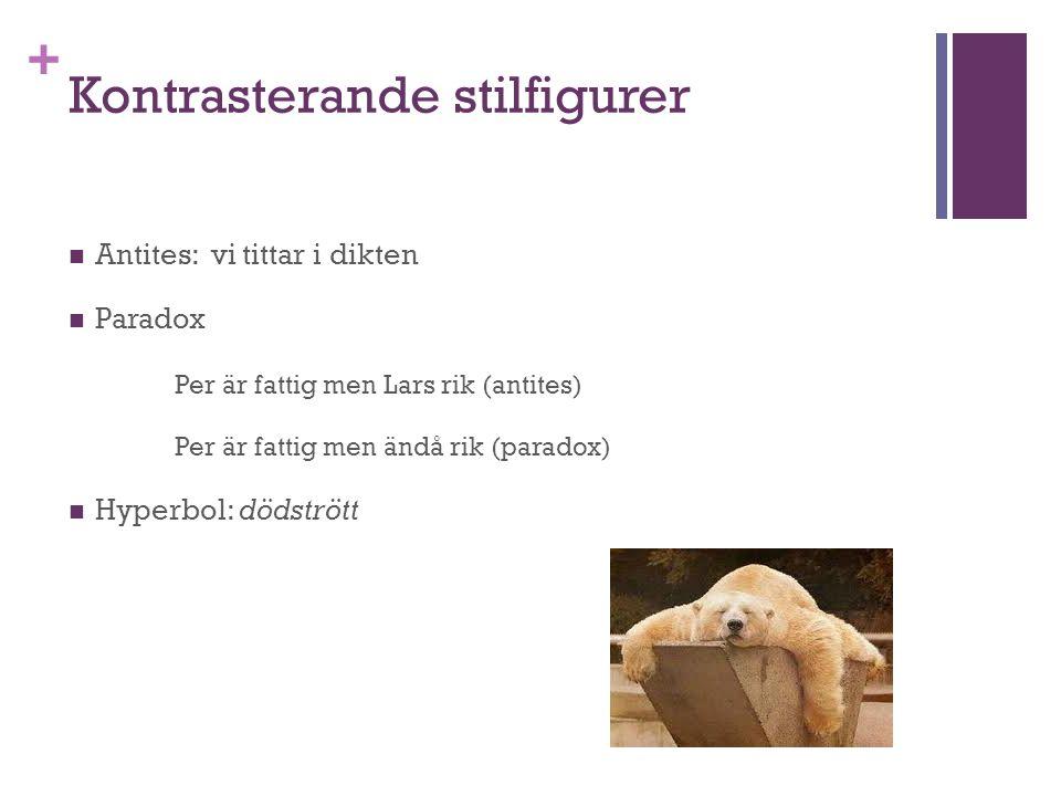 + Kontrasterande stilfigurer Antites: vi tittar i dikten Paradox Per är fattig men Lars rik (antites) Per är fattig men ändå rik (paradox) Hyperbol: d