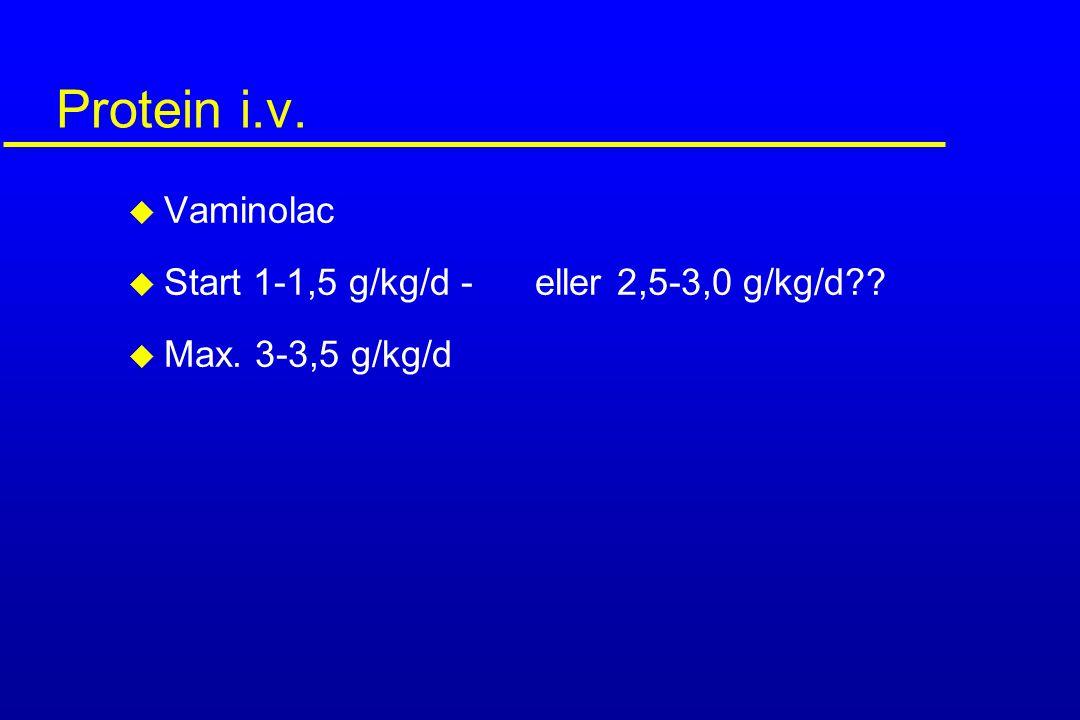 Protein i.v. u Vaminolac u Start 1-1,5 g/kg/d - eller 2,5-3,0 g/kg/d?? u Max. 3-3,5 g/kg/d