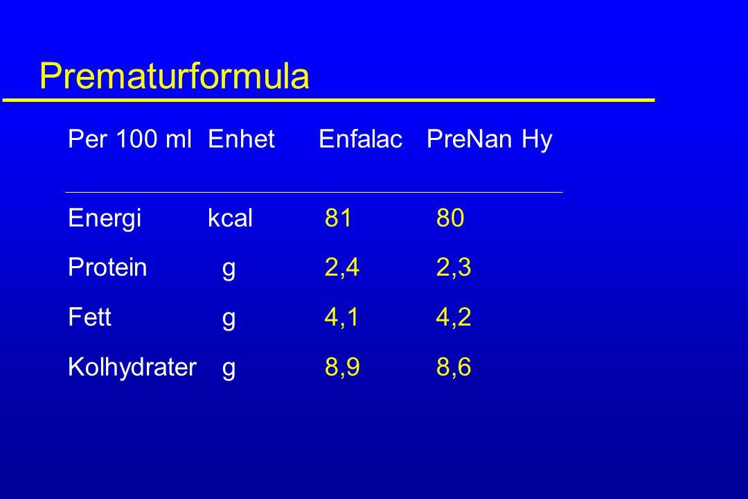 Prematurformula Per 100 ml Enhet Enfalac PreNan Hy Energi kcal 81 80 Protein g 2,4 2,3 Fett g 4,1 4,2 Kolhydrater g 8,9 8,6