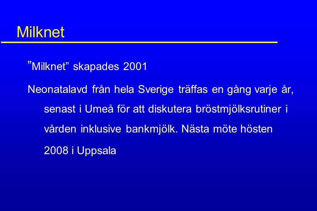 """Milknet """" Milknet"""" skapades 2001 Neonatalavd från hela Sverige träffas en gång varje år, senast i Umeå för att diskutera bröstmjölksrutiner i vården i"""