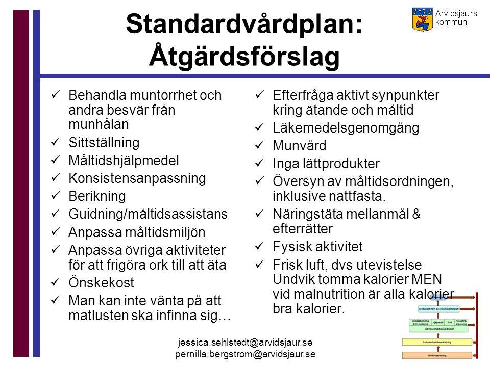 jessica.sehlstedt@arvidsjaur.se pernilla.bergstrom@arvidsjaur.se Standardvårdplan: Åtgärdsförslag Behandla muntorrhet och andra besvär från munhålan S