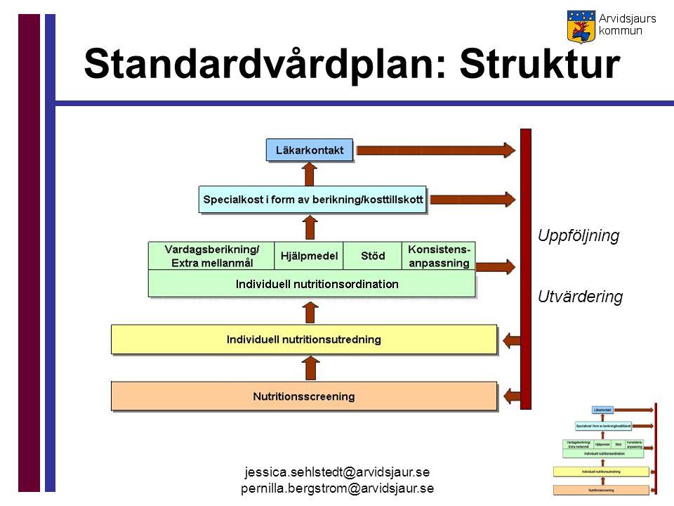 jessica.sehlstedt@arvidsjaur.se pernilla.bergstrom@arvidsjaur.se Standardvårdplan: Struktur Uppföljning Utvärdering