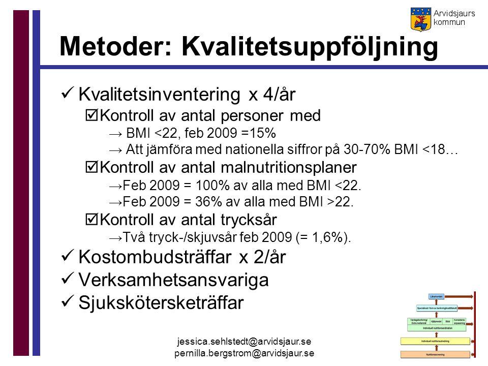 jessica.sehlstedt@arvidsjaur.se pernilla.bergstrom@arvidsjaur.se Metoder: Kvalitetsuppföljning Kvalitetsinventering x 4/år  Kontroll av antal persone