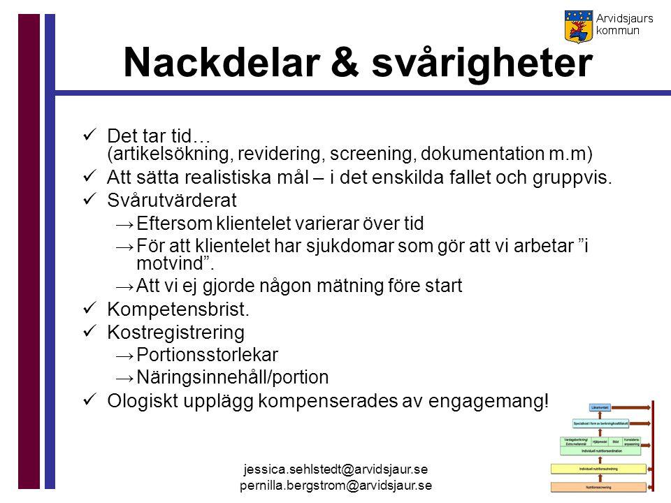 jessica.sehlstedt@arvidsjaur.se pernilla.bergstrom@arvidsjaur.se Nackdelar & svårigheter Det tar tid… (artikelsökning, revidering, screening, dokument