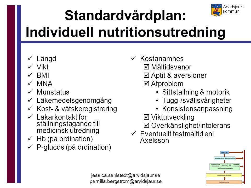 jessica.sehlstedt@arvidsjaur.se pernilla.bergstrom@arvidsjaur.se Standardvårdplan: Individuell nutritionsutredning Längd Vikt BMI MNA Munstatus Läkeme