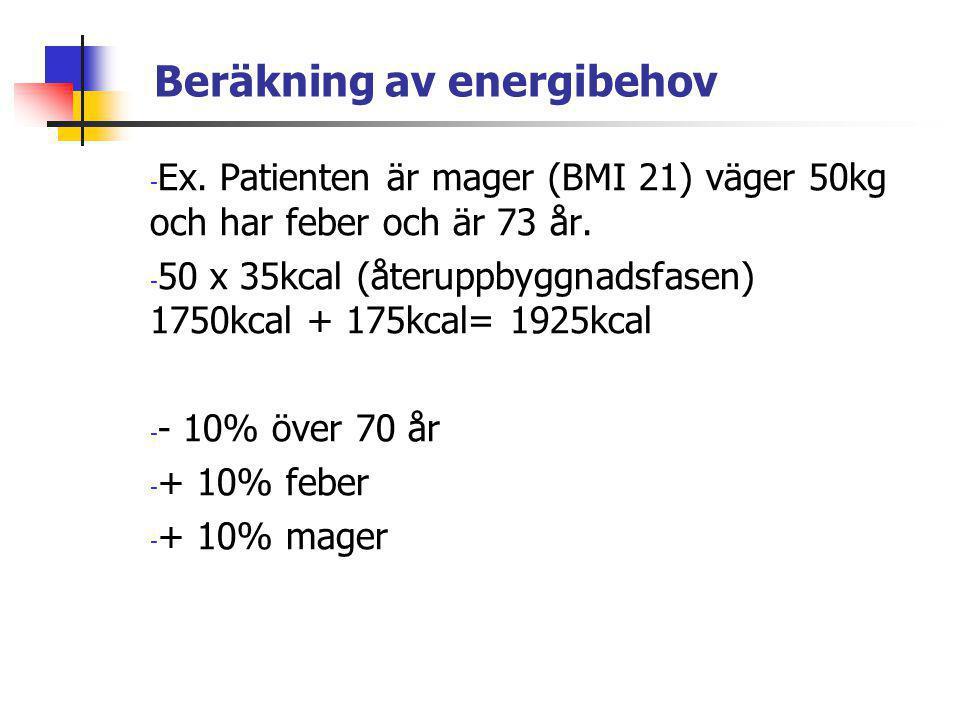 Beräkning av energibehov - Ex. Patienten är mager (BMI 21) väger 50kg och har feber och är 73 år. - 50 x 35kcal (återuppbyggnadsfasen) 1750kcal + 175k