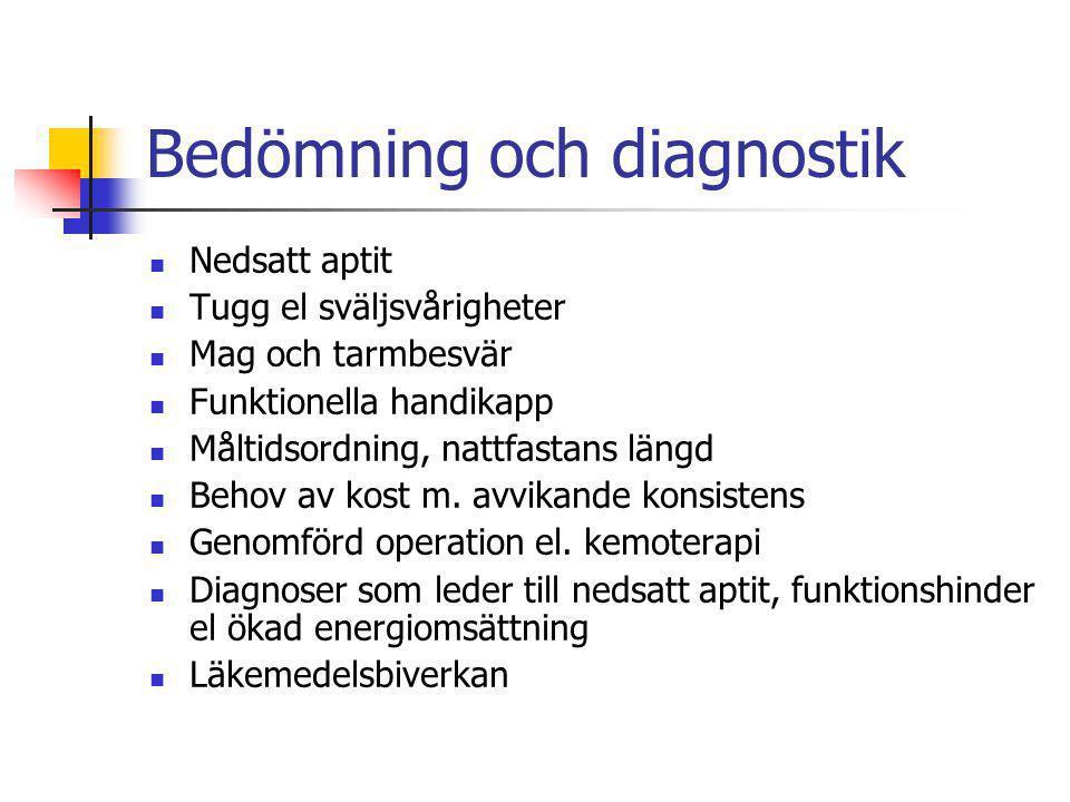 Bedömning och diagnostik Nedsatt aptit Tugg el sväljsvårigheter Mag och tarmbesvär Funktionella handikapp Måltidsordning, nattfastans längd Behov av k