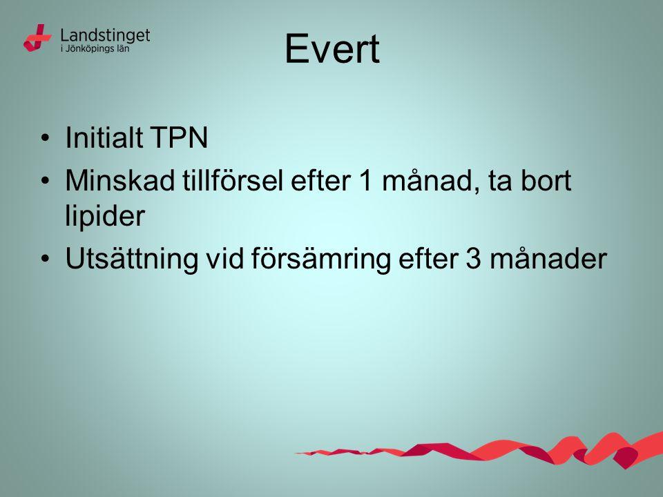 Evert Initialt TPN Minskad tillförsel efter 1 månad, ta bort lipider Utsättning vid försämring efter 3 månader