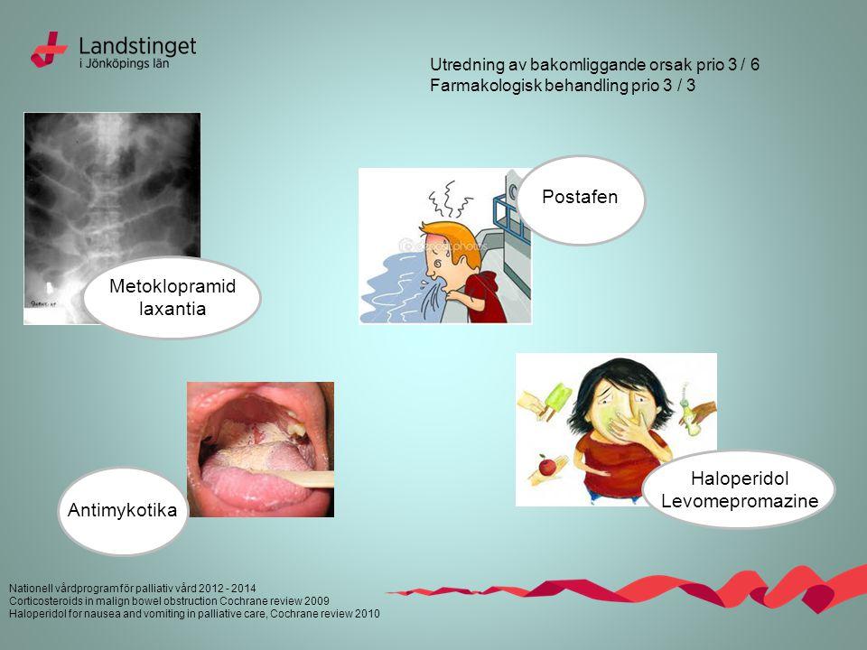 Nationell vårdprogram för palliativ vård 2012 - 2014 Corticosteroids in malign bowel obstruction Cochrane review 2009 Haloperidol for nausea and vomit