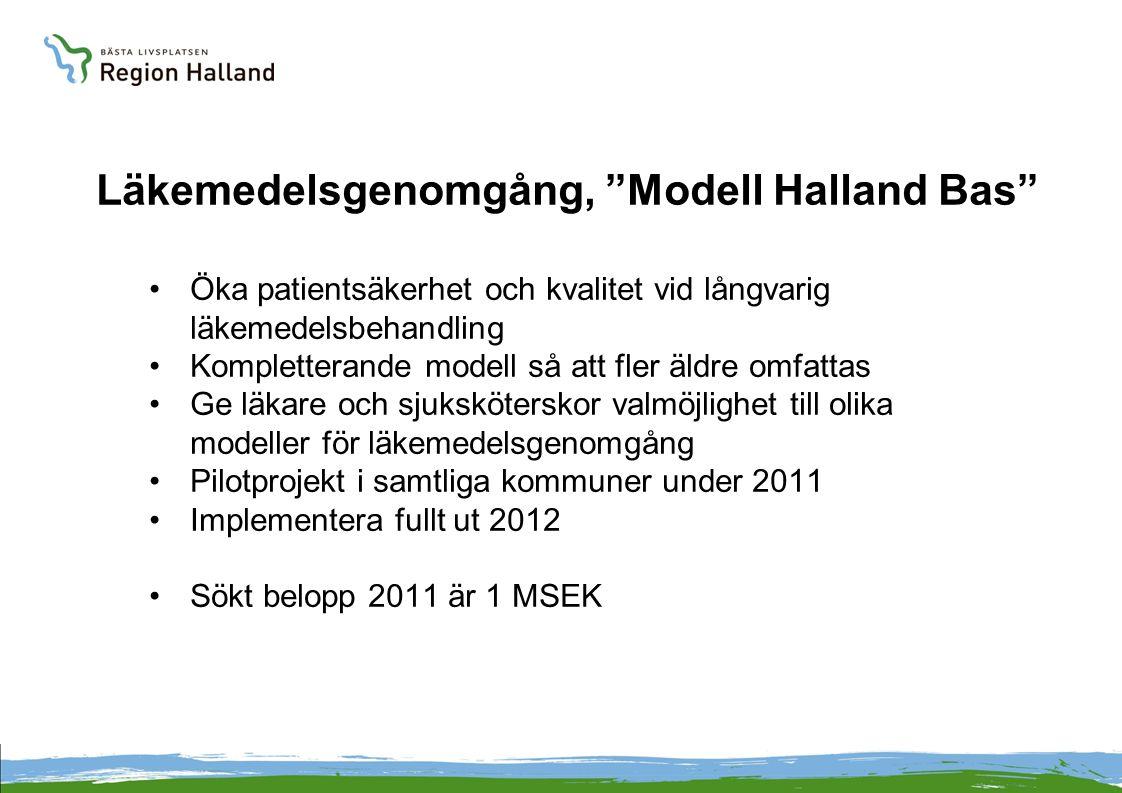 Läkemedelsgenomgång, Modell Halland Bas Öka patientsäkerhet och kvalitet vid långvarig läkemedelsbehandling Kompletterande modell så att fler äldre omfattas Ge läkare och sjuksköterskor valmöjlighet till olika modeller för läkemedelsgenomgång Pilotprojekt i samtliga kommuner under 2011 Implementera fullt ut 2012 Sökt belopp 2011 är 1 MSEK