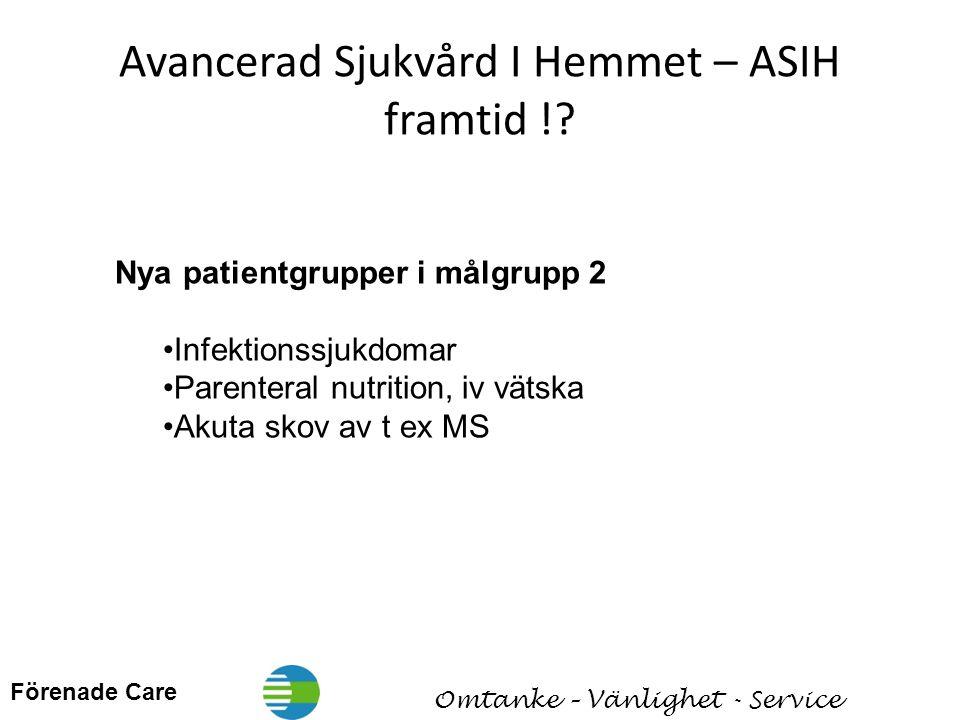 Förenade Care Omtanke – Vänlighet - Service Avancerad Sjukvård I Hemmet – ASIH framtid !.
