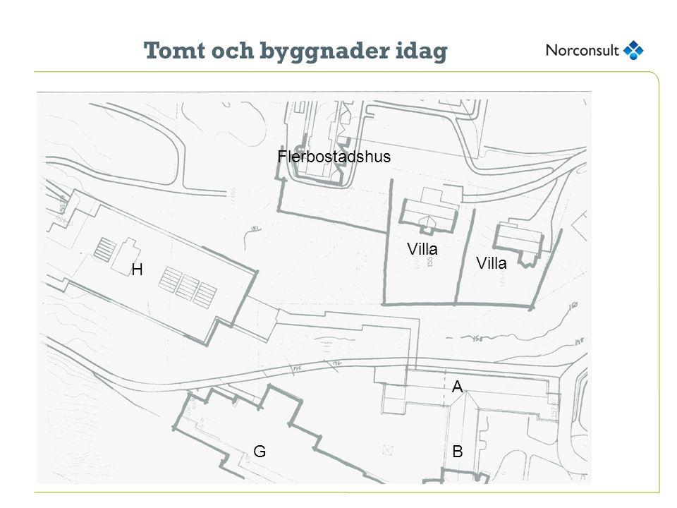 Tomt och byggnader idag H Villa Flerbostadshus G A B Villa