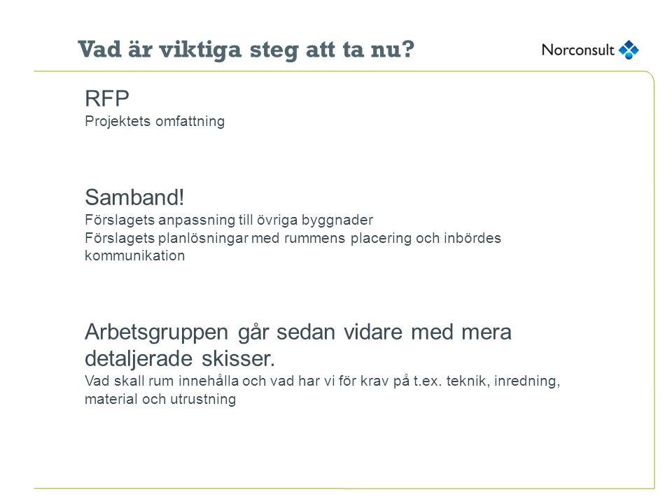 Vad är viktiga steg att ta nu? RFP Projektets omfattning Samband! Förslagets anpassning till övriga byggnader Förslagets planlösningar med rummens pla